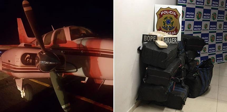 Avião e droga apreendidos pela PF, PM e FAB - Foto: PM-GO/Divulgação